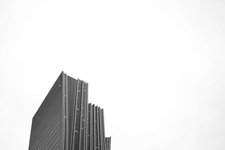 Skyscraper Building Exterior City Architecture Low Angle View Built Structure No People Sky Modern Urban Skyline Outdoors Day Cityscape Blackandwhite