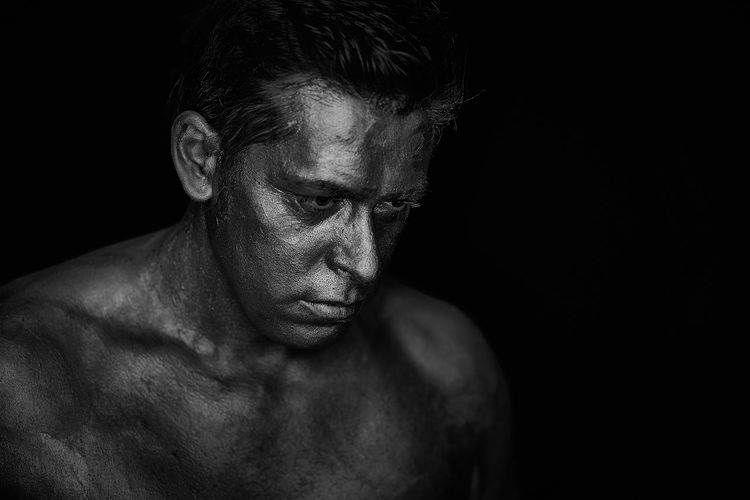 Shirtless Studio Shot One Person Portrait Black Background Indoors  Muscular Build Headshot Adult Cut Out Front View Copy Space Close-up Human Body Part Males  Looking Lifestyles Men Contemplation Dark Chest Human Face Masculinity First Eyeem Photo