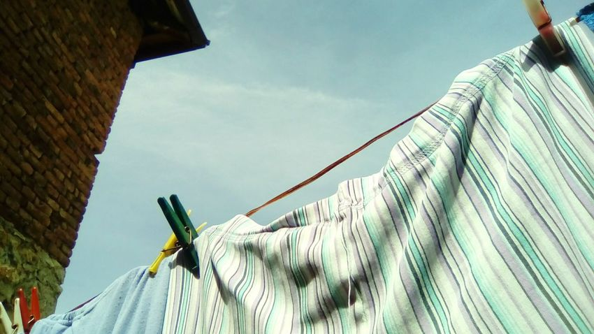 Laundry Laundry Day Clothes Pijama Pijamas Check This Out Hanging Hang Taking Photos Photography Sky Blue Sky Sky Background Relaxing Blue House Red Old House Roof Clouds Sunny Day Art Beautiful The 2016 EyeEm Awards From My Point Of View