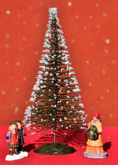 Christmas decoration over red background