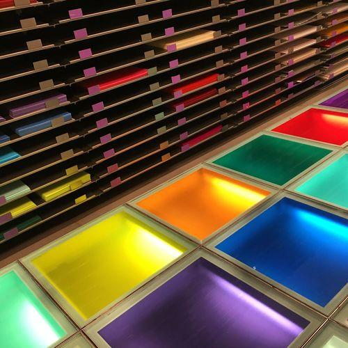 No People Lighting Equipment Stain Glass Like Art Illuminated Rubixcube Flooring Colourful