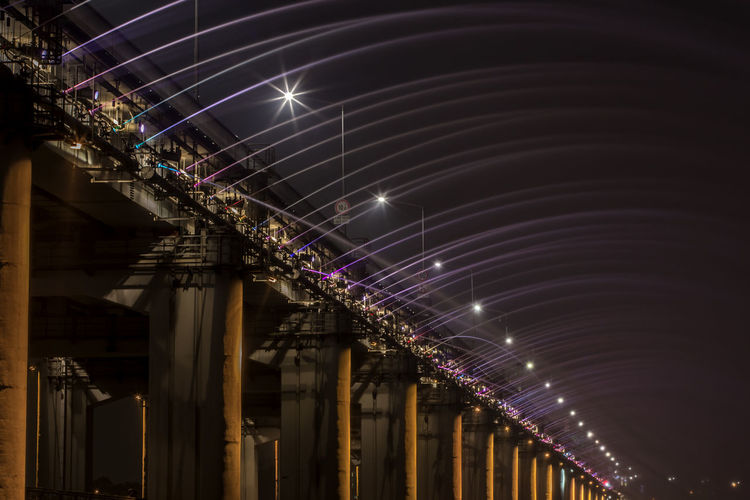 Banpo Bridge Over Han River Against Sky In City At Night