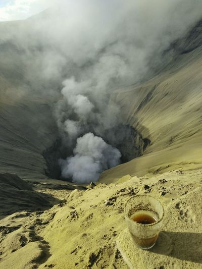 High Angle View Of Drink At Mt Bromo