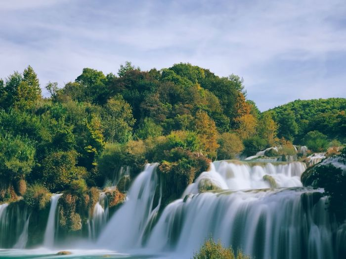 Croatia Krka National Park Shot On IPhone Tree Plant Beauty In Nature Scenics - Nature Water Motion Sky Waterfall Flowing Water Nature No People Green Color Forest Cloud - Sky Day Long Exposure Outdoors River Idyllic The Great Outdoors - 2019 EyeEm Awards