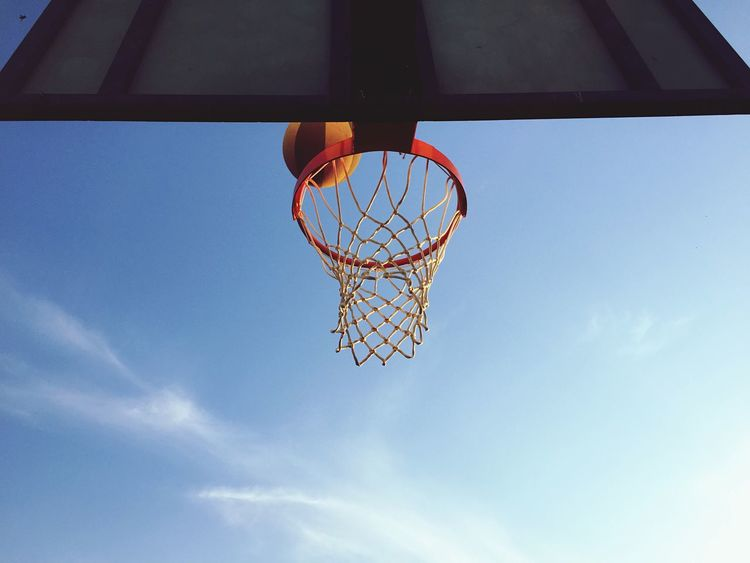Playing basketball against sky Basketball Hoop Low Angle View Basketball - Sport Sport Day Sky Net - Sports Equipment Outdoors Blue No People Basketball Basket Healthy Lifestyle Playing Win Game Play Basketball EyeEm Selects