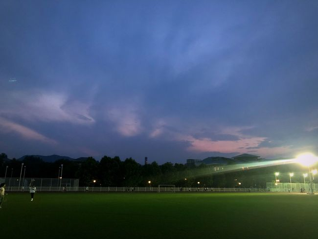 Sky Night Illuminated Grass Sport Cloud - Sky Dusk