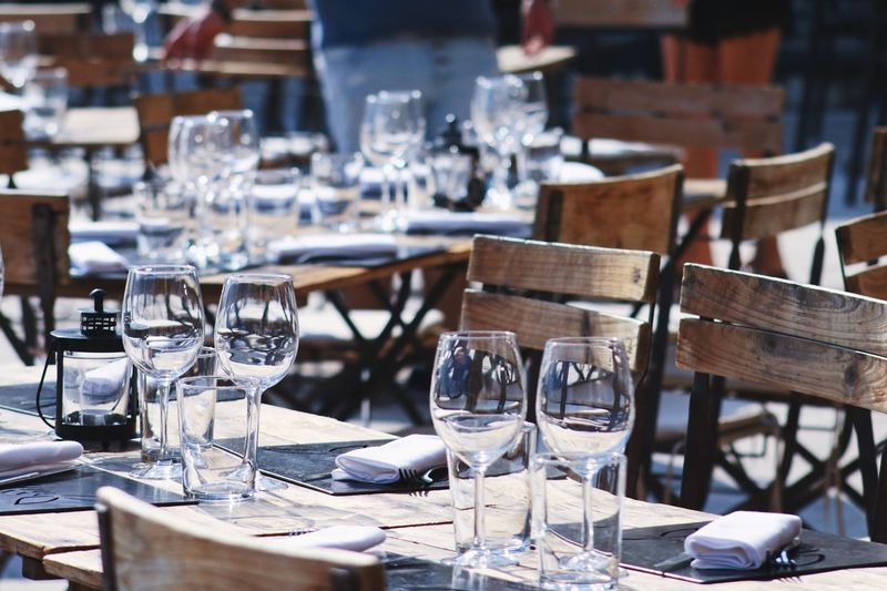 Empty Wineglasses On Table At Restaurant