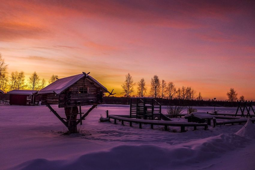 Lovely sunset in Finland.. Winter Cold Temperature Snow Sunset Beauty In Nature Frozen Finland Ivalo