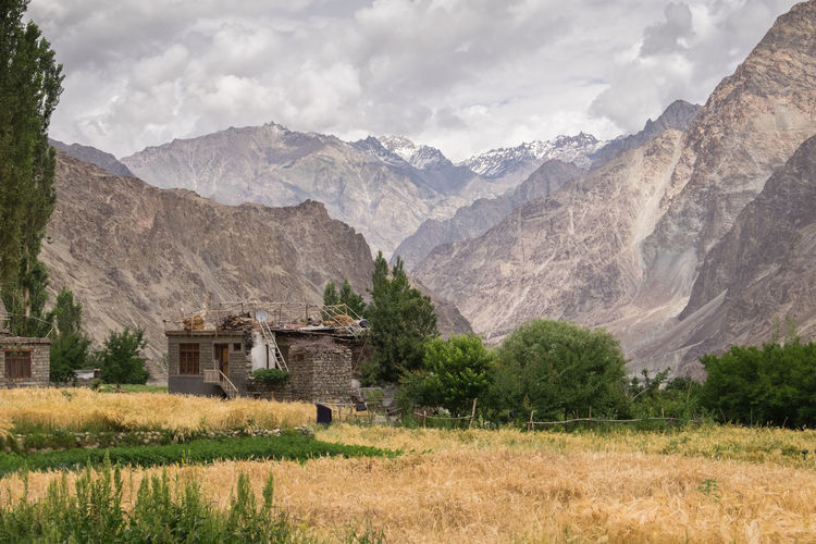 Turtuk Village Beauty In Nature Building Day Environment Field Grass House Land Landscape Mountain Mountain Peak Mountain Range Nature No People Outdoors Sky