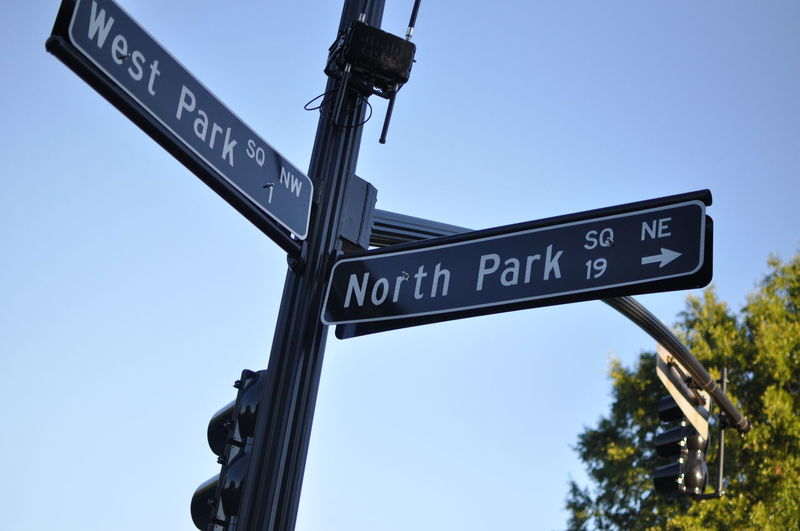 Low Angle View Of Street Name Sign Against Clear Sky