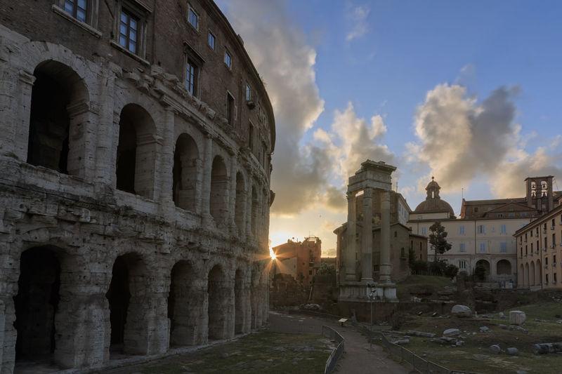 Beautiful sunset over Theatre of Marcellus in Rome, Italy Coliseum Quirinale Rome Viminale Europe Fori Romani Italy Trevi
