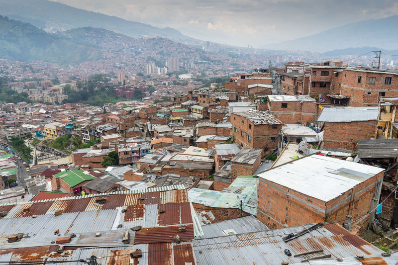 Architecture Building Exterior Colombia Comuna 13 Crowded High Angle View Medellin City Medellín Roof Slums