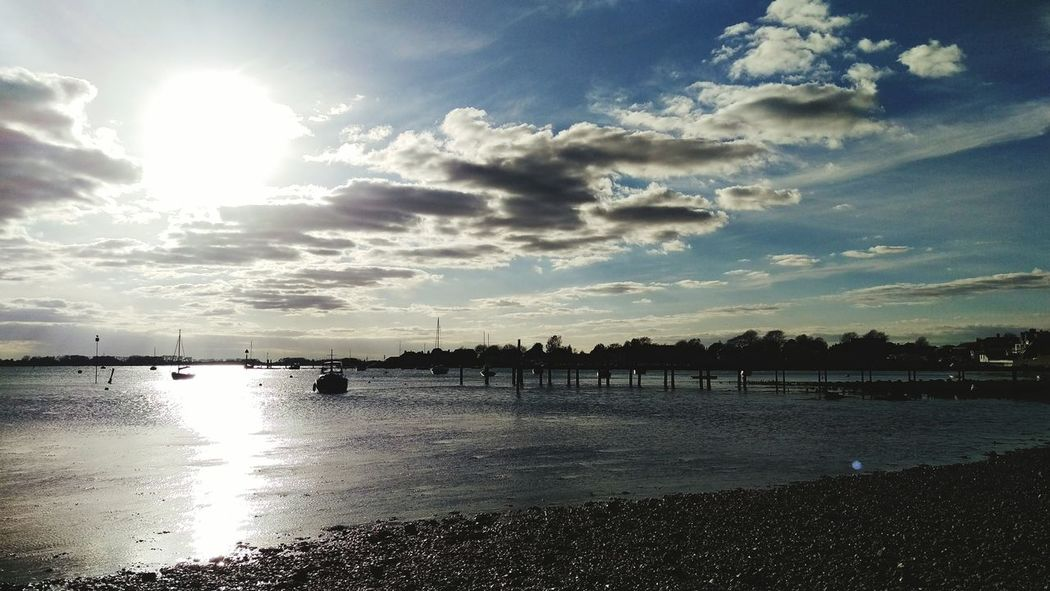 Clouds Relaxing Sun Bright Calm Water Reflections Calm Shore Chichester Harbour Sea And Sky Sea Coast Winter Sun Relax Beauty In Nature