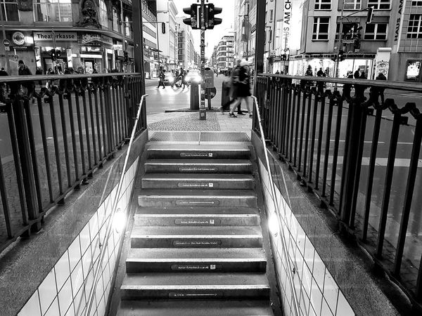 Berlin underground EyeEm Best Shots Eye4photography  Taking Photos Ilovephotography EyeEm Selects Berlin Photography Streetphotography Blackandwhite Photography Berlin Checkpointcharlie Ichbineinberliner Berliner Ansichten Vacation Time Stopthetime EyeEmBestPics EyeEm Best Shots - Black + White Railing Built Structure The Way Forward Architecture Day Real People Outdoors Building Exterior People Adult