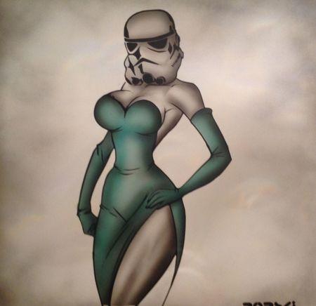 Storm trooper in a dress Robski Stormtrooper Betty Boop Newartist Sprayart Starwars