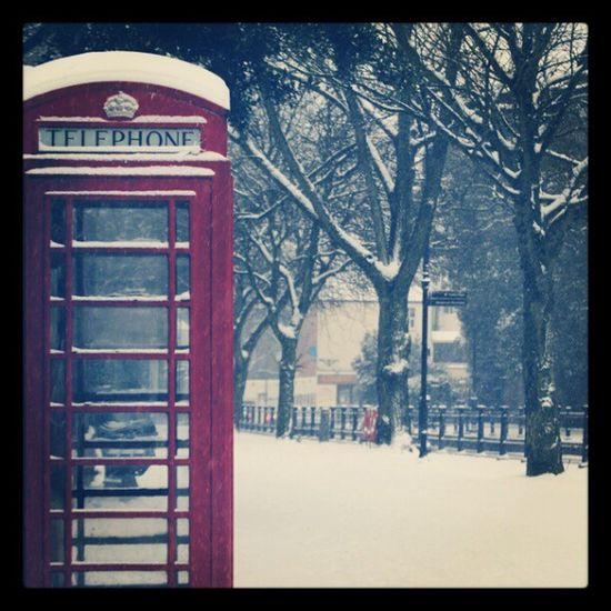 Red Phone Box London Hampstead  Winter Snowfall Snowfall