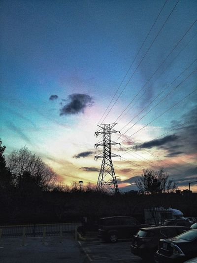 Power Lines Sunset Tower Electric