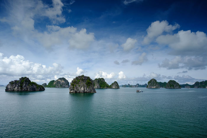 Halong Bay Cruise, Vietnam. Archipelago Halong Bay  Vietnam Beauty In Nature Cloud - Sky Cruise Day Idyllic Island Karst Limestone Mountain Nature Nautical Vessel No People Outdoors Scenics Sea Seascape Sky Tranquil Scene Tranquility Travel Destinations Water Waterfront