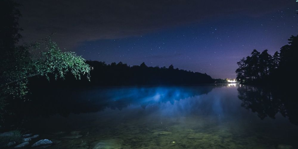 Panoramic View Of Lake Against Sky At Night