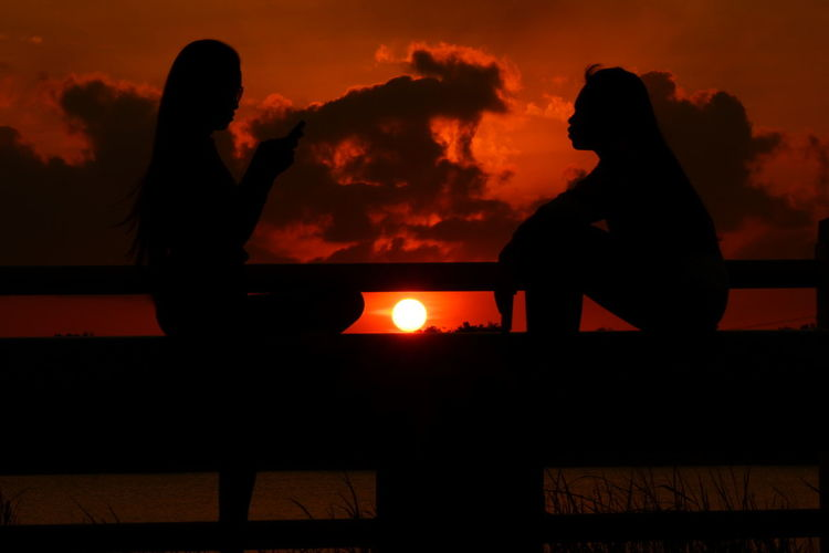 Silhouette Sitting People Two People Night Adult Adults Only Women