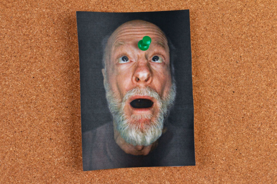 pushpin in the forehead of a selfie Print Adult Body Part Close-up Cork Board Directly Above Emotion Facial Expression Headshot High Angle View Human Body Part Human Face Indoors  Looking At Camera Men Message Board Mouth Open People Photocopy Portrait Push Pin Push Pins Selfie Shock Surprise The Portraitist - 2018 EyeEm Awards