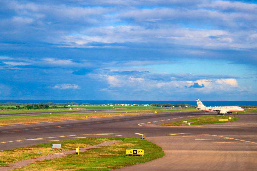 Aerospace Industry Air Vehicle Airfield Airplane Airport Airport Runway Blue Cloud - Sky Commercial Airplane Day Horizon Over Land Landscape Mauritius Airport Mauritius Island  Mode Of Transport Nature No People Outdoors Scenics Sky Transportation Travel