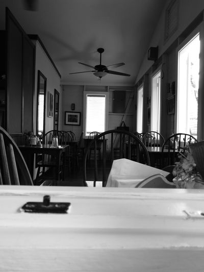 Bed Blackandwhite Day Dining Empty Restaurant Indoors  No People Restaurant Window View