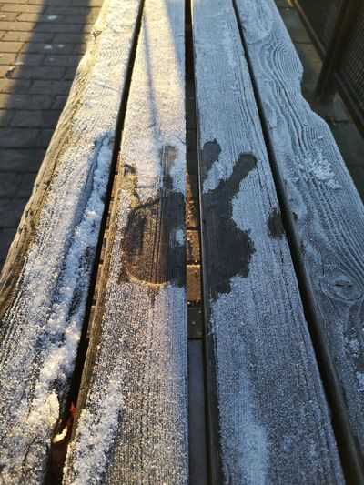 No lastning print Frost Handprint Bench No Edit/no Filter Huaweiphotography Leicacamera Sweden Low Section High Angle View Close-up Shadow Textured  Focus On Shadow Long Shadow - Shadow LINE Rough