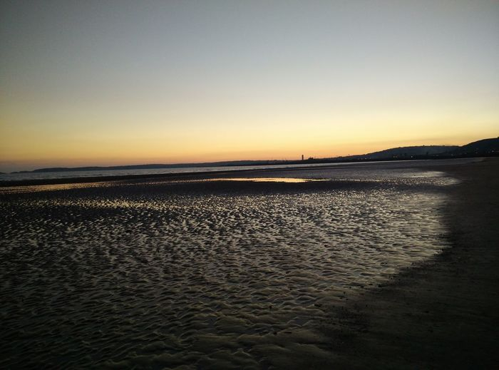 Beach at Swansea University Bay Campus Sunset Scenics Sea Tranquil Scene Water Tranquility Dusk Beauty In Nature Rippled Beach Copy Space Clear Sky Idyllic Seascape Orange Color Shore Nature Calm Vacations Non-urban Scene
