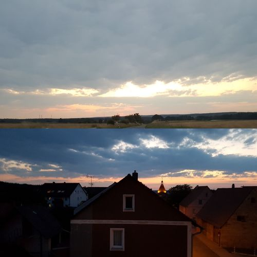 #Sonnenuntergang🌇 oben Buttendorf bei Rosstal unten #cadolzburg #sporch Roßtal Buttendorf Cadolzburg Sonnenuntergang💕 Sporch Water Cityscape Sunset Tree Area Reflection Lake Sky Horizon Over Water Building Exterior Cloud - Sky