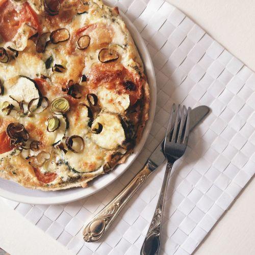 Zucchini quiche on table