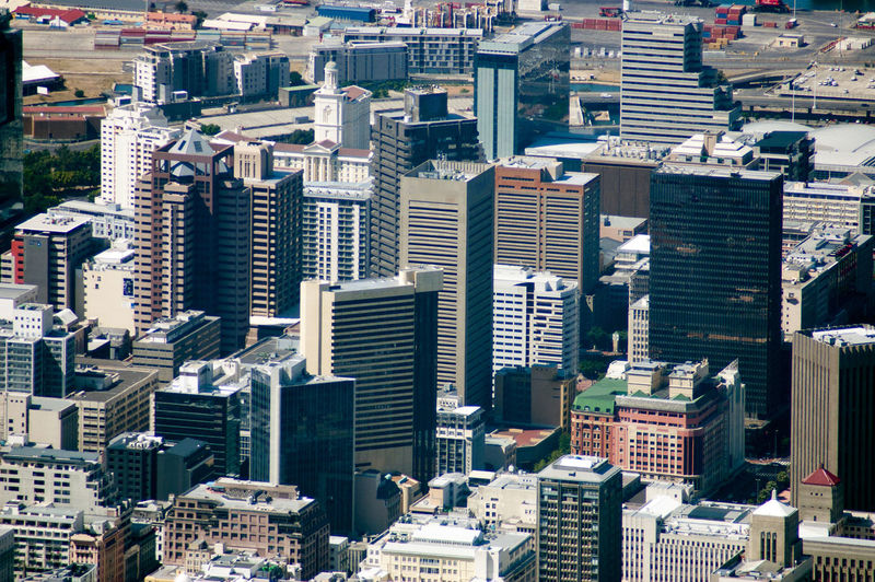 An overview shot of a part of the city of cape town
