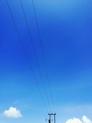 Blue Cable Sky Flying Day Technology No People Outdoors Telephone Line