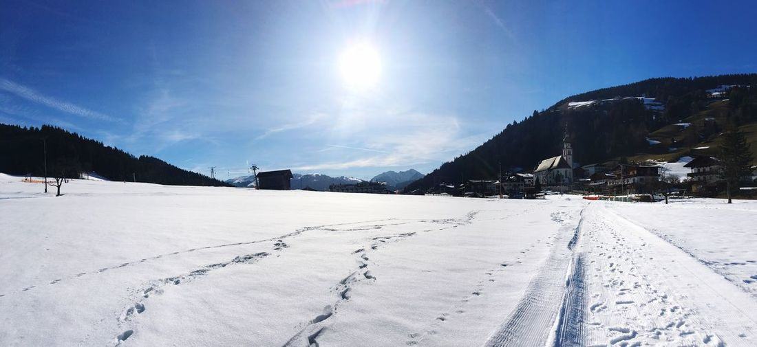 Beautiful Snowway No People Blue Sky Snow Cold Temperature Winter Sky White Color Beauty In Nature Sunlight Nature Landscape Mountain Sun Lens Flare