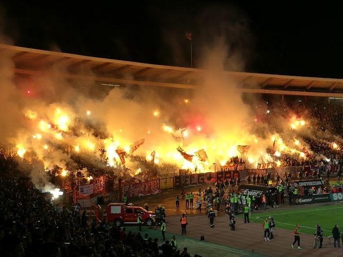 Crowd Marakana Fc Red Star Stadium Night Outdoors People Crvena Zvezda Crvenazvezda Derbi  Fire In The Hole