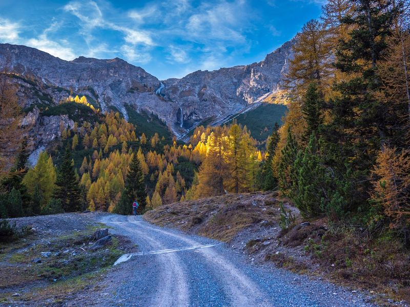 Hiking in autumn Val Müstair Autumn Plant Tree Scenics - Nature Beauty In Nature Mountain Mountain Range Nature Cloud - Sky No People Non-urban Scene Road Tranquility Tranquil Scene Environment Landscape Sky Land Growth Day Forest A New Beginning