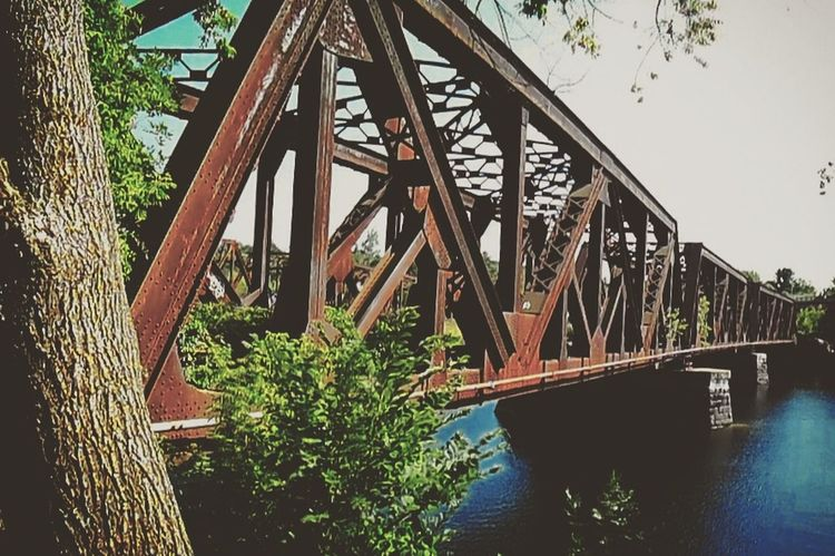Robie's Country Store Connection Built Structure Architecture Bridge - Man Made Structure Water Engineering River Metal Low Angle View Clear Sky Bridge Sky Railway Bridge Day Outdoors Girder Nature Long Weathered Iron - Metal First Eyeem Photo