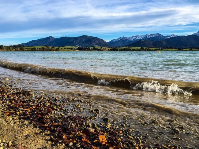 Nature Water Sky Beauty In Nature Scenics Outdoors Mountain No People Tranquil Scene Tranquility Cloud - Sky Sea Day Beach Landscape Forggensee First Eyeem Photo Real People Beauty In Nature Füssen New Perspectives