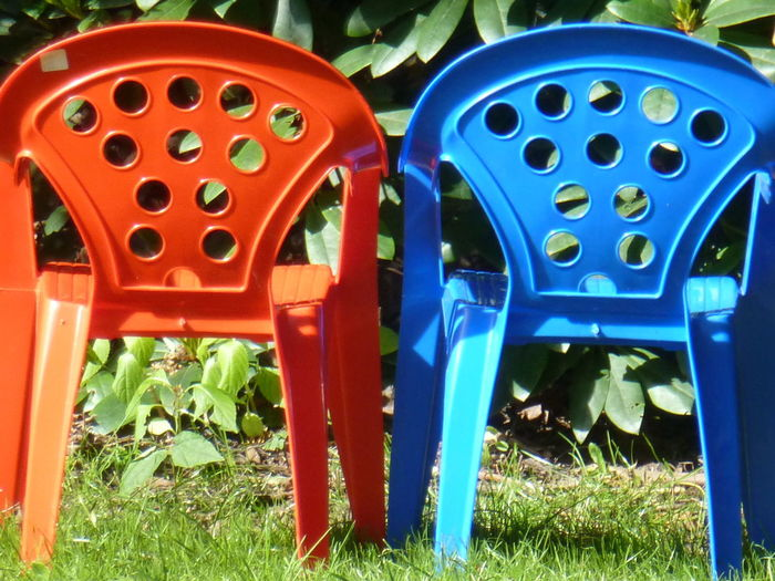 Bright Chairs Close-up Day Green Color Multi Colored No People Plastic Chairs Red, Blue And Green Colour Vibrant Color