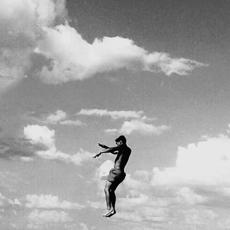 Monochrome Photography Freedom Sky Cloud - Sky One Person Jumping Young Adult Playing Vertical People Outdoors Performance Person Beach Adult Day Musical Instrument One Man Only
