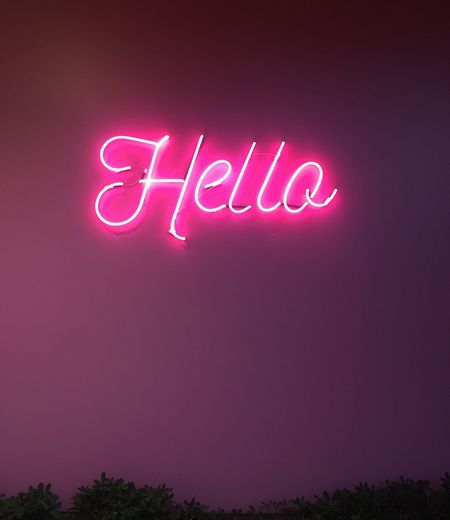 Hello MaviBahçe Avm Izmir EyeEm EyeEmNewHere Text Communication Western Script Pink Color Illuminated No People Night Neon Single Word Message