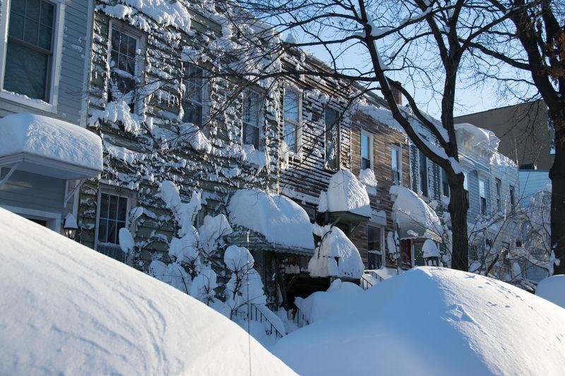 Cars Under Snow Houses Park Park Slope Snow Snowy Street Urban Winter