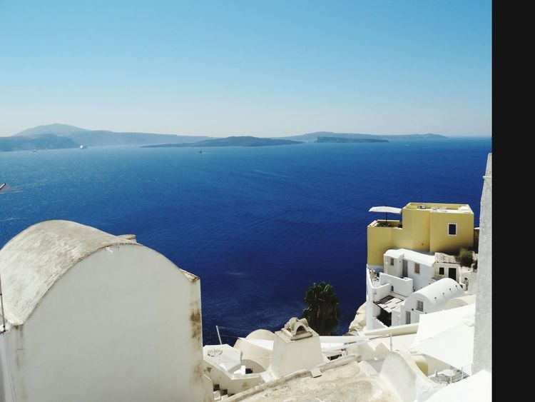 Architecture Building Exterior Built Structure Sea High Angle View Water No People Fort Outdoors Day Whitewashed Travel Destinations Nature Clear Sky Sky Santorini, Greece Mediteranean Cyclades Islands Santorini Island Santorini View Santorini Scene
