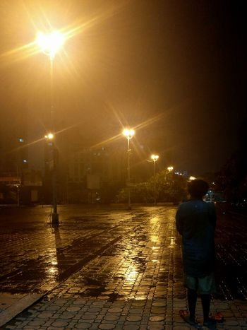 Rear View Single Person Lone Man Life In Rainy Season Life Questions