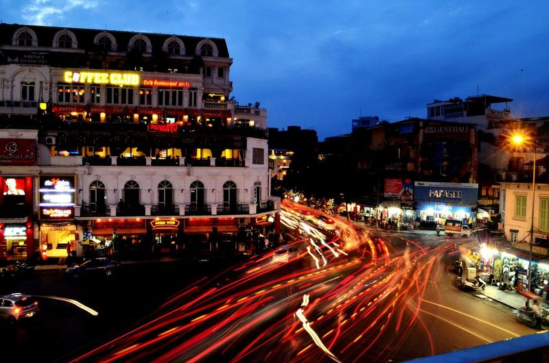 Crazy traffic at Le Thanh Tong intersection Traffic Crazy Crazy Traffic Backpacking Highlands Coffee Hanoi Hoan Kiem Lake Vietnam Long Exposure Cities At Night Adventures In The City