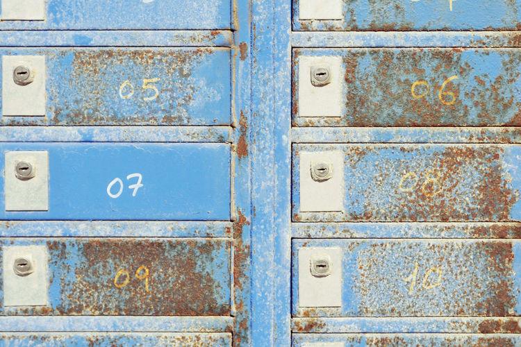 Full Frame Shot Of Blue Drawers