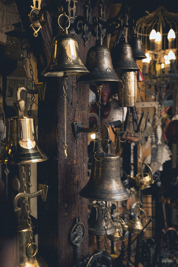bells' shop Antique Bell Antique Antiques Architecture Choice Electric Lamp Hanging History Illuminated Indoors  Lantern Large Group Of Objects Light Lighting Equipment Market Metal No People Oil Lamp Old Retail  Retail Display Retro Styled Souvenir The Past