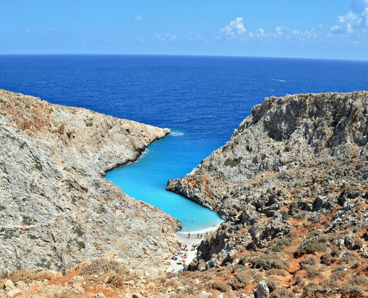 Seitan Limania in Crete. Love at first sight Beauty In Nature Blue Calm Cliff Geology Horizon Over Water Idyllic Majestic Mountain Nature Non-urban Scene Outdoors Remote Seitan Scenics Sea Seascape Sky Solitude Summer Tranquil Scene Tranquility Vacations Been There. Chania