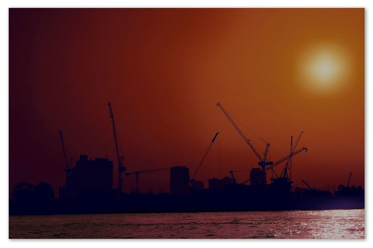 sunset, water, waterfront, sky, sea, silhouette, crane - construction machinery, outdoors, sun, no people, nature, tranquility, nautical vessel, clear sky, freight transportation, scenics, beauty in nature, industry, architecture, building exterior, day