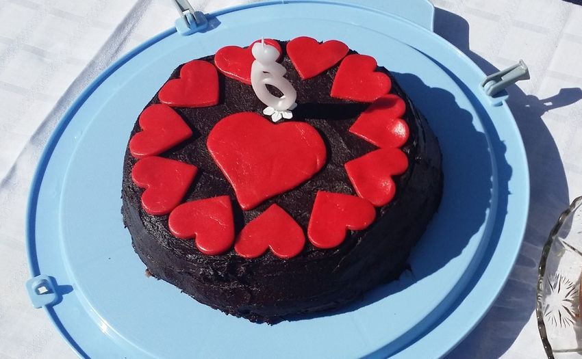 6 6th Birthday Birthday Close-up Day Dessert Food Food And Drink Freshness Gourmet Handmade Happy Birthday! No People Plate Ready-to-eat Red Red Hearts Sweet Food Sweet Pie Temptation